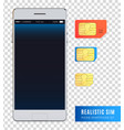 realistic sim phone smartphone icon set vector image vector image