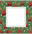 reindeer with red scarf on green banner card vector image