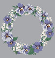 round floral frame wreath with viola flowers vector image vector image