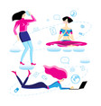 set different beautiful girls action vector image