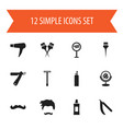 set of 12 editable hairstylist icons includes vector image