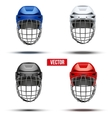 Set of Classic Ice Hockey Helmets vector image vector image