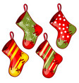 set of hanging colored sock red and green colors vector image vector image