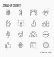 set of thin line icons on theme stand up vector image vector image