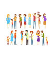 set of young families cartoon people expecting vector image