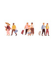 set tourists traveling with luggage families vector image