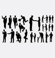 shake hands businessman silhouettes vector image