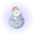 snowman in sweater drinking coffee vector image