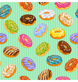Sweet heart donuts texture striped background with vector image vector image