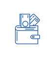 wallet with money line icon concept wallet with vector image vector image