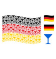 waving german flag mosaic of alcohol glass items vector image vector image