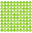 100 t-shirt icons set green circle