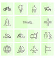 14 travel icons vector image vector image