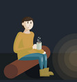 a boy scout sitting beside a vector image vector image