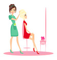 beautiful blonde woman in hairdressing salon vector image vector image