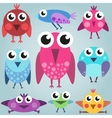 Cartoon bright bird set funny comic birds simple vector image