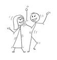 cartoon disco dancing couple vector image