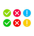 check mark and cross icon tick warning and x vector image vector image