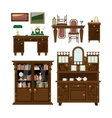 Classic furniture set in flat style vector image vector image