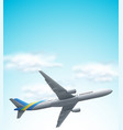 commerical airplane flying above vector image vector image