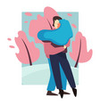 couple in love embracing in park man and woman vector image