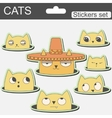 cute cartoon stickers cats in hat vector image vector image