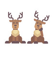 cute deer sitting down christmas character icon vector image vector image