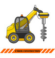 drilling equipment heavy construction machines vector image vector image
