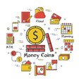 finance and banking concept - money coins vector image