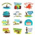 fishing cartoon icon set with fisherman and fish vector image