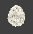 flower composition in a shape of easter egg vector image vector image