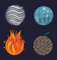 four nature elements air fire water earth vector image