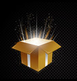 golden 3d gift box with glittering spiral vector image vector image