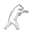 grizzly bear boxing doodle art vector image