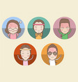group cartoon cute people characters vector image vector image