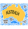 hand drawn stylized map australia travel of vector image vector image