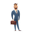 handsome cartoon businessman in elegant suit with vector image