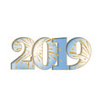 happy new year card blue number 2019 with gold vector image vector image