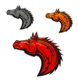 Horse stallion mascot heads set vector image