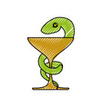 isolated caduceus snake emblem vector image vector image