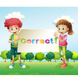 Kids holding a signboard vector image vector image