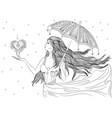 line art girl under umbrella vector image vector image