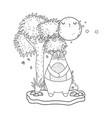 little bear teddy with moon kawaii in the vector image vector image