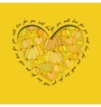 Love card Golden heart design with pumpkin vector image vector image