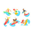 Male and female surfers characters riding waves
