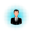 Man in black suit icon comics style vector image
