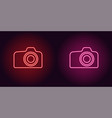 neon icon of red and pink photo camera vector image vector image