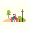 people spending time on red bench in park vector image vector image