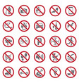 prohibition signs set on white background for vector image