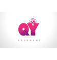 qy q y letter logo with pink purple color and vector image vector image